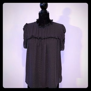 Who What Wear Polka Dot Drapery Doll Blouse Sz M